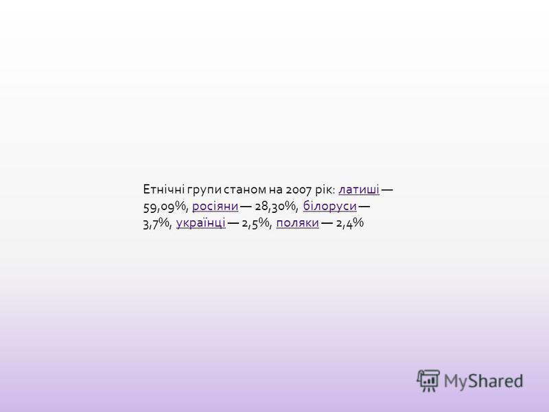 Етнічні групи станом на 2007 рік: латиші 59,09%, росіяни 28,30%, білоруси 3,7%, українці 2,5%, поляки 2,4%латишіросіянибілорусиукраїнціполяки