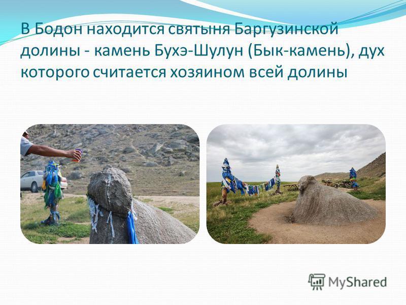 В Бодон находится святыня Баргузинской долины - камень Бухэ-Шулун (Бык-камень), дух которого считается хозяином всей долины