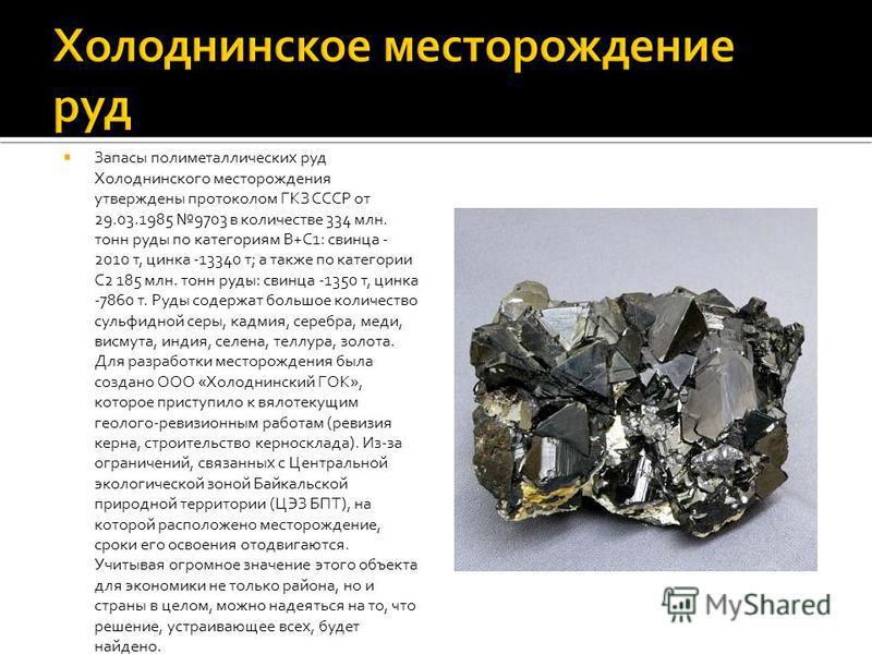 Запасы полиметаллических руд Холоднинского месторождения утверждены протоколом ГКЗ СССР от 29.03.1985 9703 в количестве 334 млн. тонн руды по категориям В+С1: свинца - 2010 т, цинка -13340 т; а также по категории С2 185 млн. тонн руды: свинца -1350 т