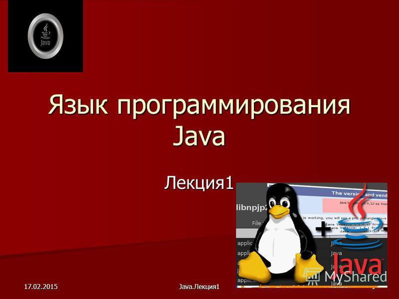17.02.2015Java.Лекция 11 Язык программирования Java Лекция 1