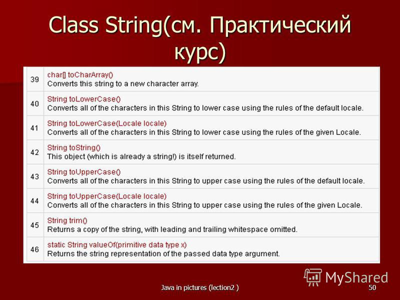 Java in pictures (lection2 )50 Class String(см. Практический курс)
