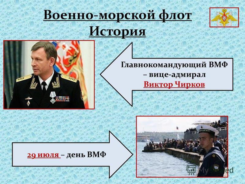 Главнокомандующий ВМФ – вице-адмирал Виктор Чирков 29 июля – день ВМФ