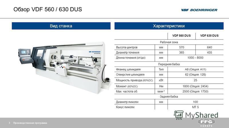 Обзор VDF 560 / 630 DUS Производственная программа 3 Вид станка Характеристики VDF 560 DUSVDF 630 DUS Рабочая зона Высота центров мм 570640 Диаметр точения мм 365435 Длина точения (от/до)мм 1000 – 8000 Передняя бабка Фланец шпинделя ТипA8 (Опция: A11