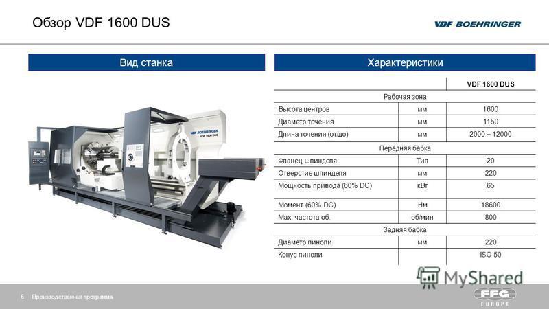 Обзор VDF 1600 DUS Производственная программа 6 Вид станка VDF 1600 DUS Рабочая зона Высота центров мм 1600 Диаметр точения мм 1150 Длина точения (от/до)мм 2000 – 12000 Передняя бабка Фланец шпинделя Тип 20 Отверстие шпинделя мм 220 Мощность привода