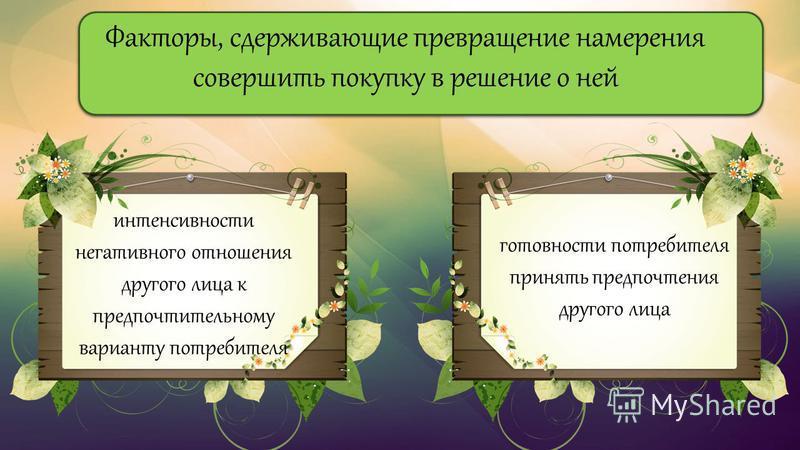 Факторы, сдерживающие превращение намерения совершить покупку в решение о ней готовности потребителя принять предпочтения другого лица интенсивности негативного отношения другого лица к предпочтительному варианту потребителя