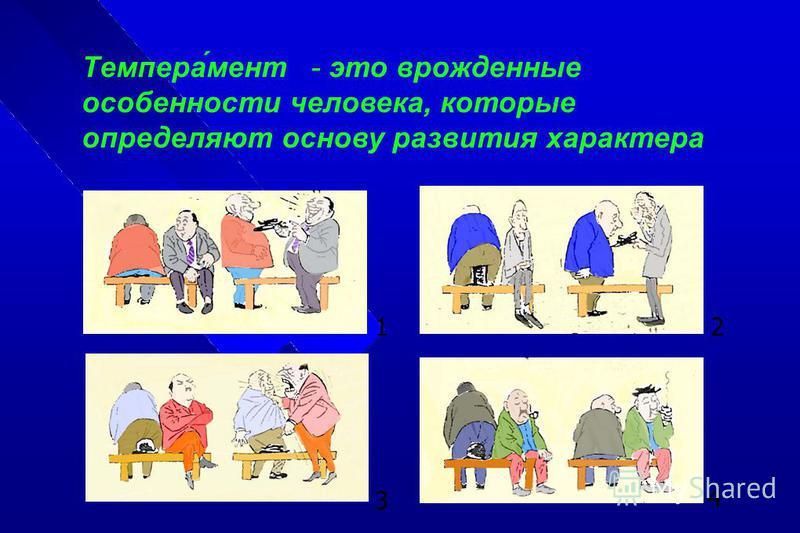 1 2 3 4 Темпера́мент - это врожденные особенности человека, которые определяют основу развития характера
