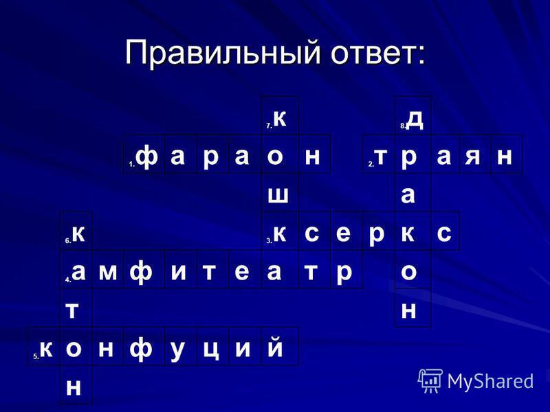 Правильный ответ: 7. к 8. д 1. фараон 2. траян ша 6. к 3. ксеркс 4. амфитеатров тн 5. конфуций н
