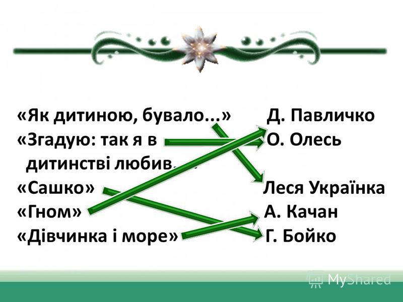 «Як дитипною, бувало...» Д. Павличко «Згадую: так я в О. Олесь дитипнстві любив...» «Сашко» Леся Українка «Гном» А. Качан «Дівчинка і море» Г. Бойко