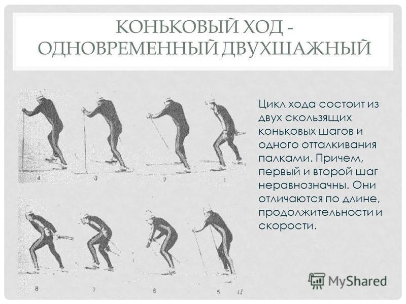 КОНЬКОВЫЙ ХОД - ОДНОВРЕМЕННЫЙ ДВУХШАЖНЫЙ Цикл хода состоит из двух скользящих коньковых шагов и одного отталкивания палками. Причем, первый и второй шаг неравнозначны. Они отличаются по длине, продолжительности и скорости.