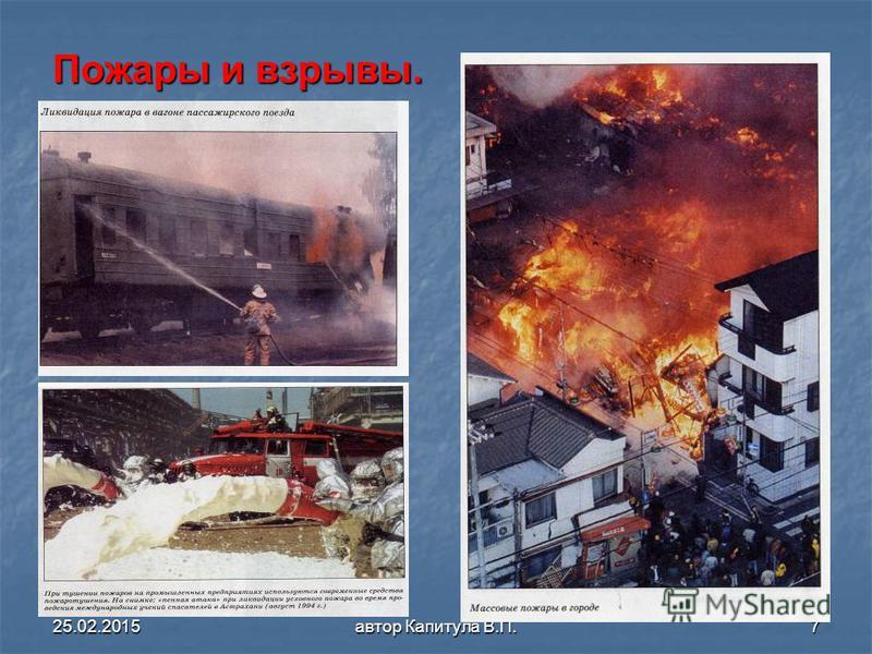 25.02.2015 автор Капитула В.П.7 Пожары и взрывы.
