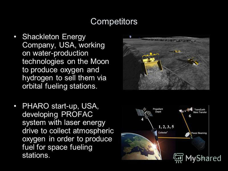 Competitors Shackleton Energy Company, USA, working on water-production technologies on the Moon to produce oxygen and hydrogen to sell them via orbital fueling stations. PHARO start-up, USA, developing PROFAC system with laser energy drive to collec