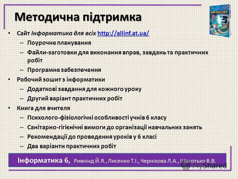 Методична підтримка Сайт Інформатика для всіх http://allinf.at.ua/http://allinf.at.ua/ – Поурочне планування – Файли-заготовки для виконання вправ, завдань та практичних робіт – Програмне забезпечення Робочий зошит з інформатики – Додаткові завдання