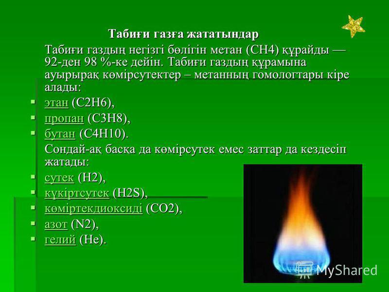 Табиғи газға жататындар Табиғи газдың негізгі бөлігін метан (CH4) құрайды 92-ден 98 %-ке дейін. Табиғи газдың құрамына ауырырақ көмірсутоктер – метанның гомолог тары кіре аллоды: этан (C2H6), этан (C2H6), этан пропан (C3H8), пропан (C3H8), пропан бут