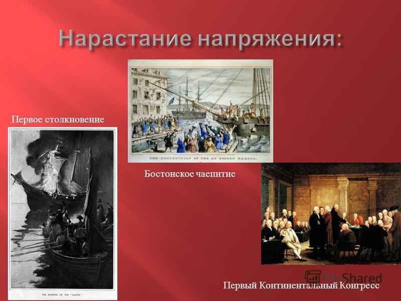 Первое столкновение Бостонское чаепитие Первый Континентальный Конгресс