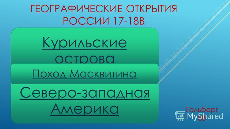 ГЕОГРАФИЧЕСКИЕ ОТКРЫТИЯ РОССИИ 17-18В Гольберг 8В Курильские острова Северо-западная Америка Поход Москвитина