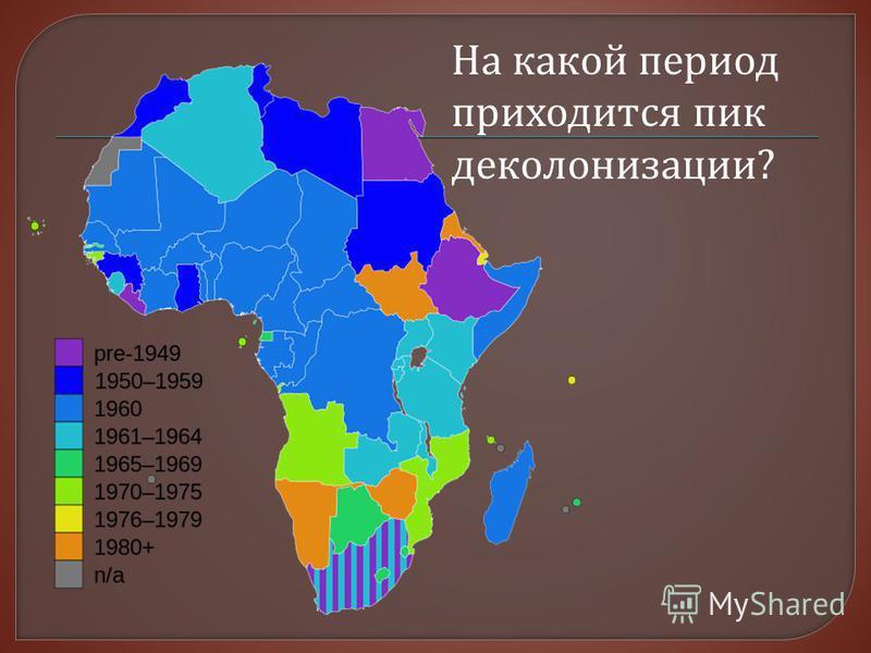 На какой период приходится пик деколонизации?