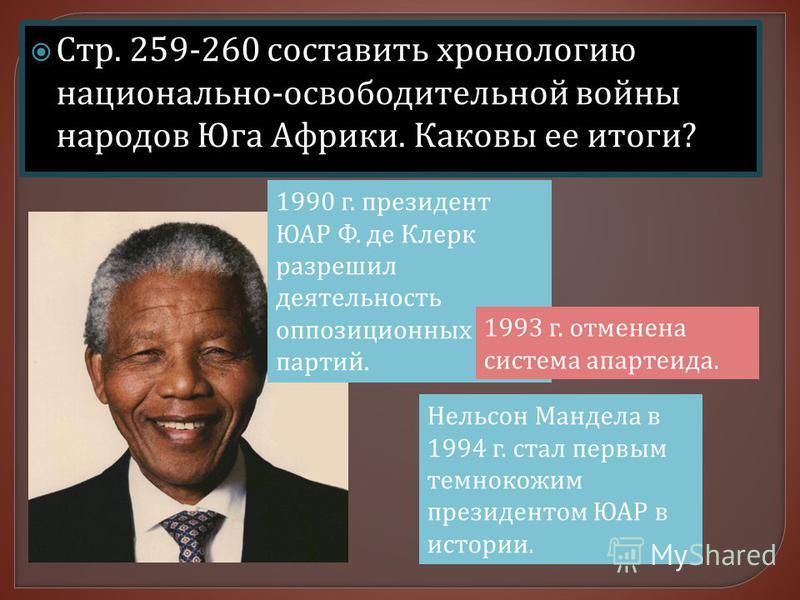 Стр. 259-260 составить хронологию национально - освободительной войны народов Юга Африки. Каковы ее итоги ? Нельсон Мандела в 1994 г. стал первым темнокожим президентом ЮАР в истории. 1990 г. президент ЮАР Ф. де Клерк разрешил деятельность оппозицион