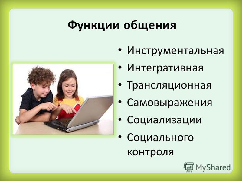 Функции общения Инструментальная Интегративная Трансляционная Самовыражения Социализации Социального контроля