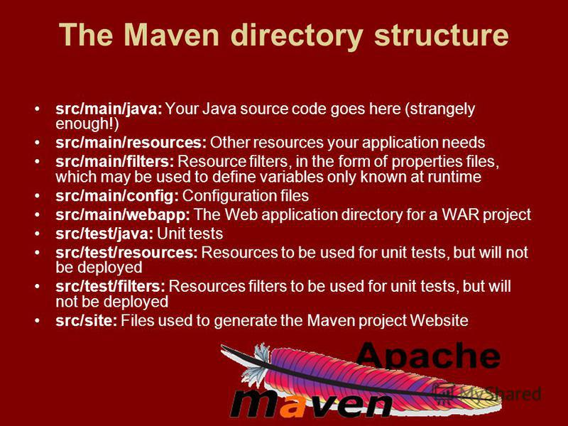 The Maven directory structure src/main/java: Your Java source code goes here (strangely enough!) src/main/resources: Other resources your application needs src/main/filters: Resource filters, in the form of properties files, which may be used to defi