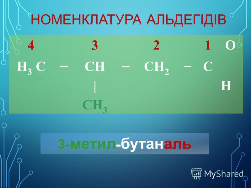 НОМЕНКЛАТУРА АЛЬДЕГІДІВ 4321O H 3 CCHCH 2 C |H CH 3 3- метил - бутаналь