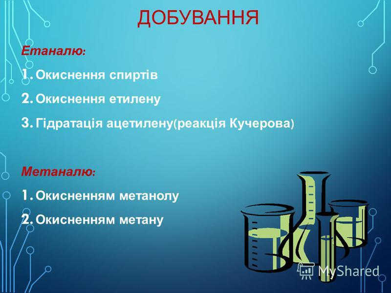 ДОБУВАННЯ Етаналю: 1. Окиснення спиртів 2. Окиснення этилену 3. Гідратація ацэтилену(реакція Кучерова) Метаналю: 1. Окисненням метанолу 2. Окисненням метану