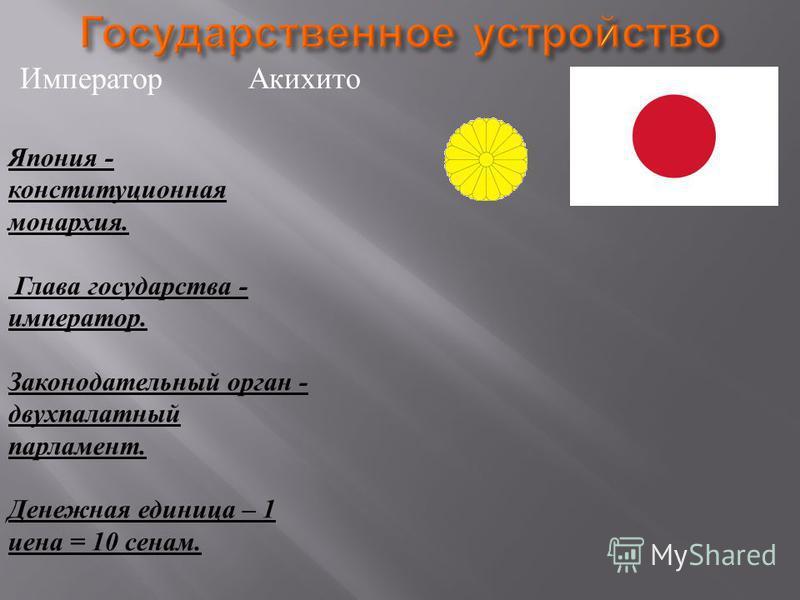 Император Акихито Япония - конституционная монархия. Глава государства - император. Законодательный орган - двухпалатный парламент. Денежная единица – 1 иена = 10 сенам.