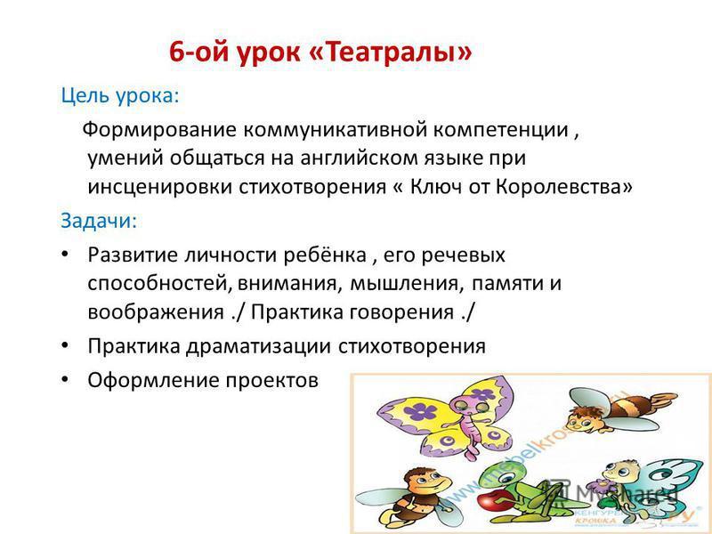 6-ой урок «Театралы» Цель урока: Формирование коммуникативной компетенции, умений общаться на английском языке при инсценировки стихотворения « Ключ от Королевства» Задачи: Развитие личности ребёнка, его речевых способностей, внимания, мышления, памя