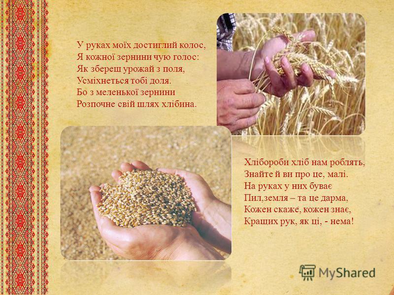 У руках моїх достиглий колос, Я кожної зернины чую голос: Як збереш урожай з поля, Усміхнеться тобі доля. Бо з меленької зернины Розпочне свій шлях хлібина. Хлібороби хліб нам роблять, Знайте й ви про це, малі. На руках у них буває Пил,земля – та це