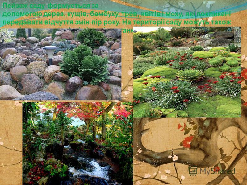 Пейзаж саду формується за допомогою дерев, кущів, бамбуку, трав, квітів і моху, які покликані передавать відчуття змін пір року. На території саду можуть такое розміщуватися кам'яні ліхтарі,альтанки чи чайні.
