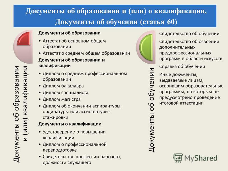 Документы об образовании и (или) о квалификации. Документы об обучении (статья 60)