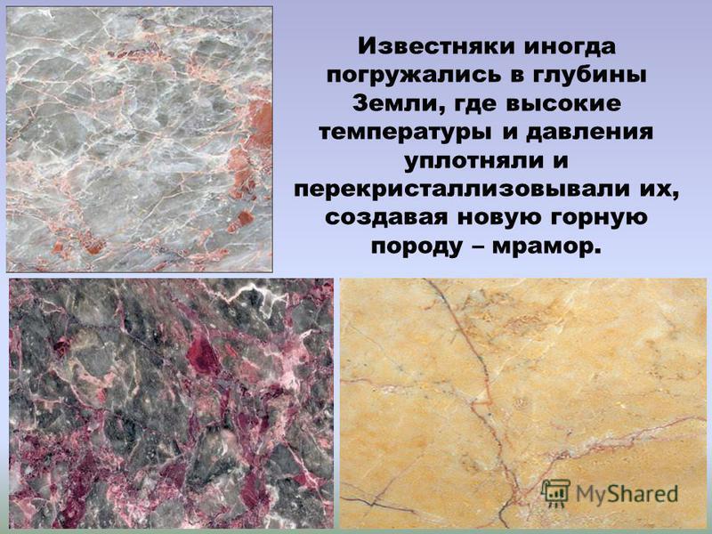 Известняки иногда погружались в глубины Земли, где высокие температуры и давления уплотняли и перекристаллизовывали их, создавая новую горную породу – мрамор.