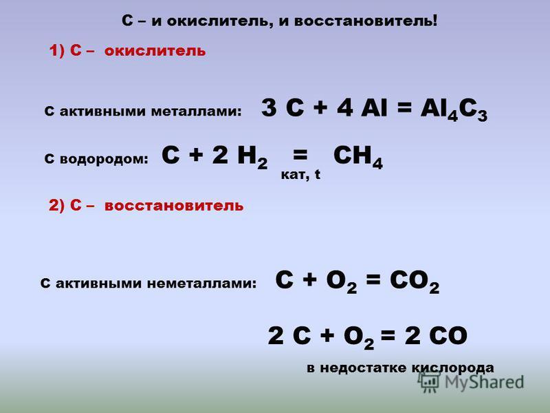 С – и окислитель, и восстаньовитель! 1) С – окислитель С активными металлами: 3 С + 4 Al = Al 4 C 3 С водородом: С + 2 Н 2 = CН 4 кат, t 2) С – восстаньовитель С активными неметаллами: С + О 2 = CО 2 2 С + О 2 = 2 CО в недостатке кислорода