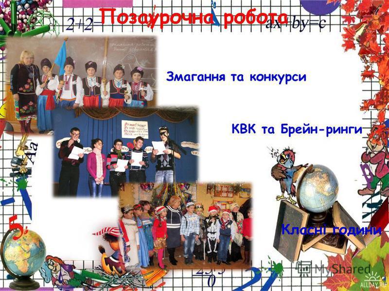 Позаурочна робота Змагання та конкурсы КВК та Брейн-ринги Класні години