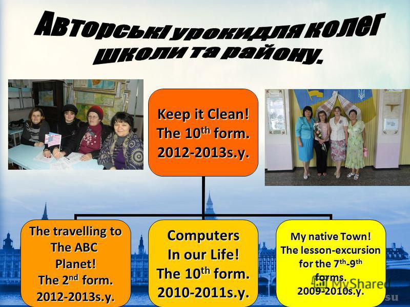 Keep it Clean! The 10 th form. 2012-2013s.y. The travelling to The ABC Planet! The 2 nd form. 2012-2013s.y.Computers In our Life! The 10 th form. 2010-2011s.y. My native Town! The lesson-excursion for the 7 th -9 th forms.2009-2010s.y.
