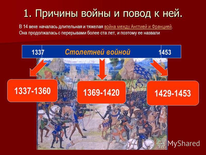1. Причины войны и повод к ней. В 14 веке началась длительная и тяжелая война между Англией и Францией. Она продолжалась с перерывами более ста лет, и поэтому ее назвали война между Англией и Францией 1369-1420 1429-1453 1337-1360 1337 Столетней войн