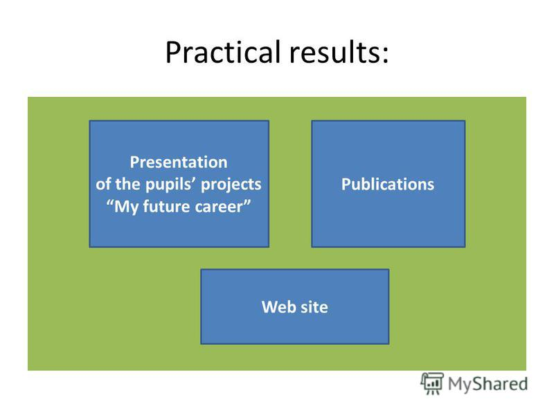 Practical results: Presentation of the pupils projects My future career Publications Web site