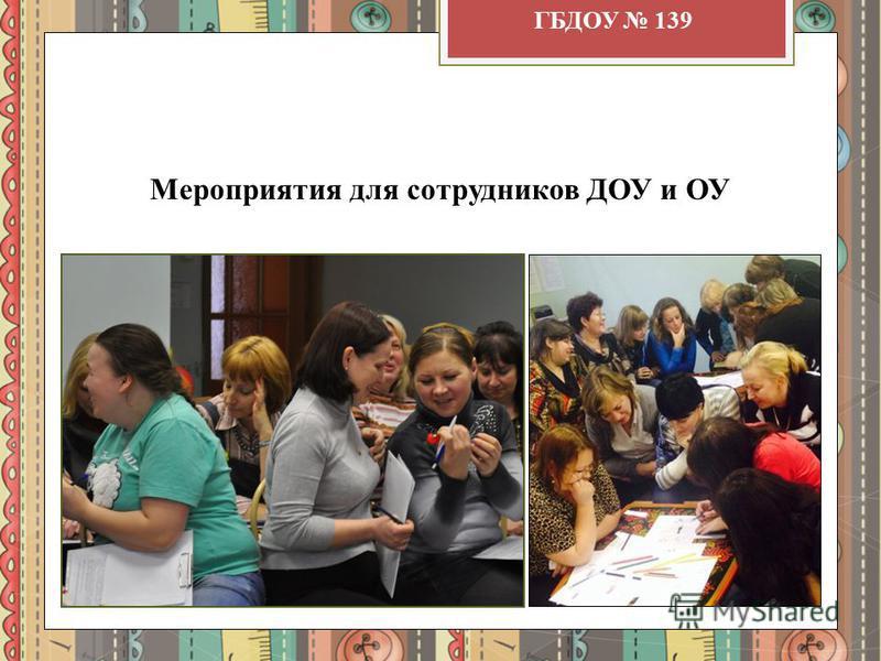 Мероприятия для сотрудников ДОУ и ОУ ГБДОУ 139