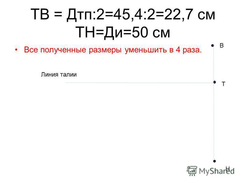 ТВ = Дтп:2=45,4:2=22,7 см ТН=Ди=50 см Все полученные размеры уменьшить в 4 раза. Т В Н Линия талии