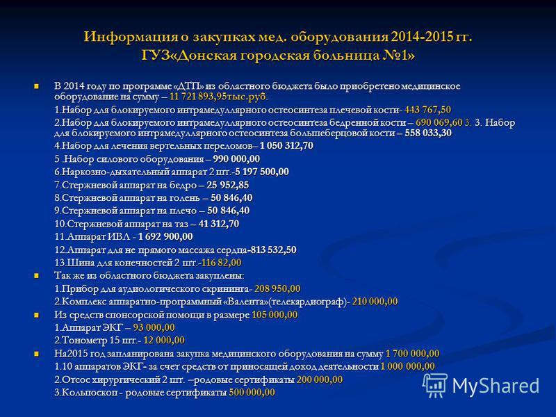 Информация о закупках мед. оборудования 2014-2015 гг. ГУЗ«Донская городская больница 1» В 2014 году по программе «ДТП» из областного бюджета было приобретено медицинское оборудование на сумму – 11 721 893,95 тыс.руб. В 2014 году по программе «ДТП» из