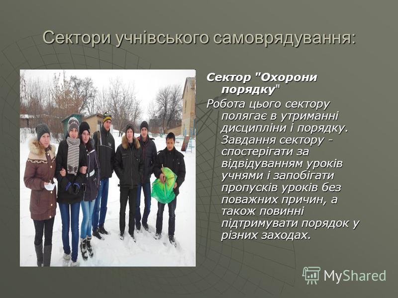 Сектори учнівського самоврядування: Сектор