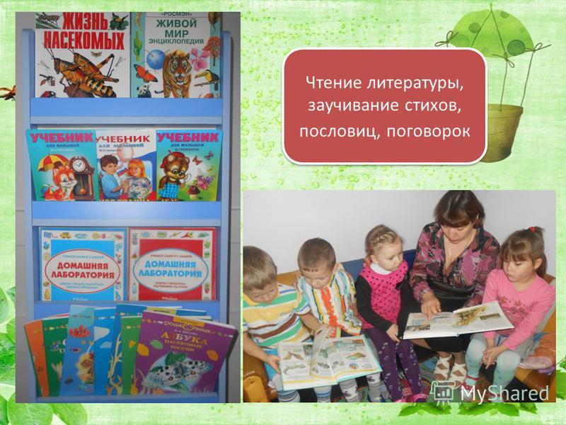 Чтение литературы, заучивание стихов, пословиц, поговорок