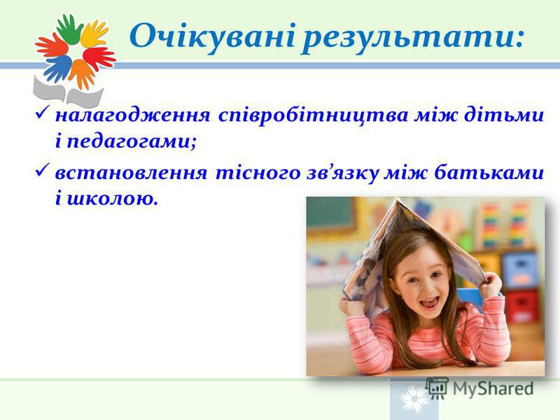Очікувані результати: налагодження співробітництва між дітьми і педагогами; встановлення тісного звязку між батьками і школою.