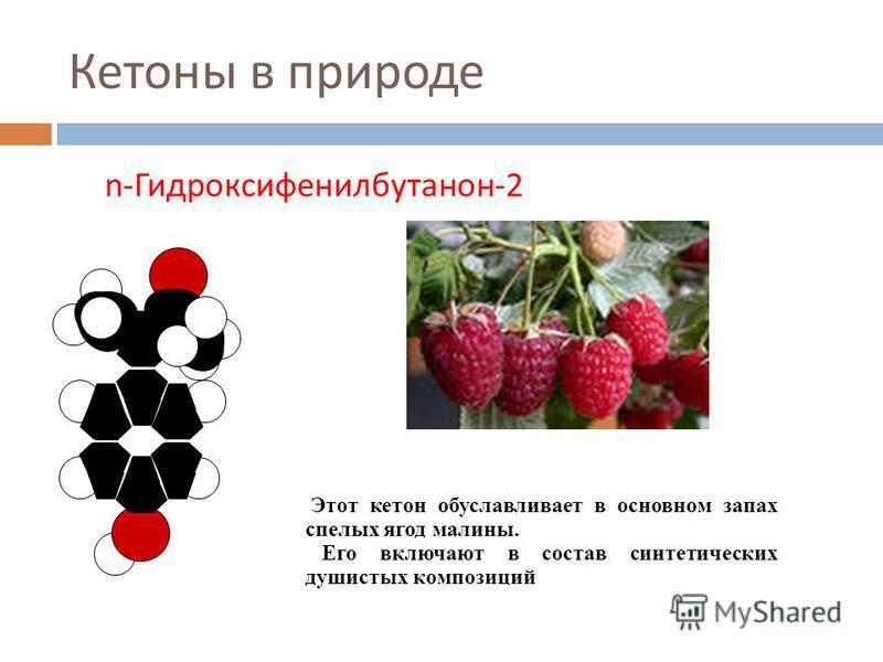 Кетоны в природе n-Гидроксифенилбутанон-2 Этот кетон обуславливает в основном запах спелых ягод малины. Его включают в состав синтетических душистых композиций