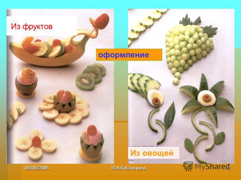 08/06/2006И.А.Кислицына 12 Из фруктов Из овощей оформление