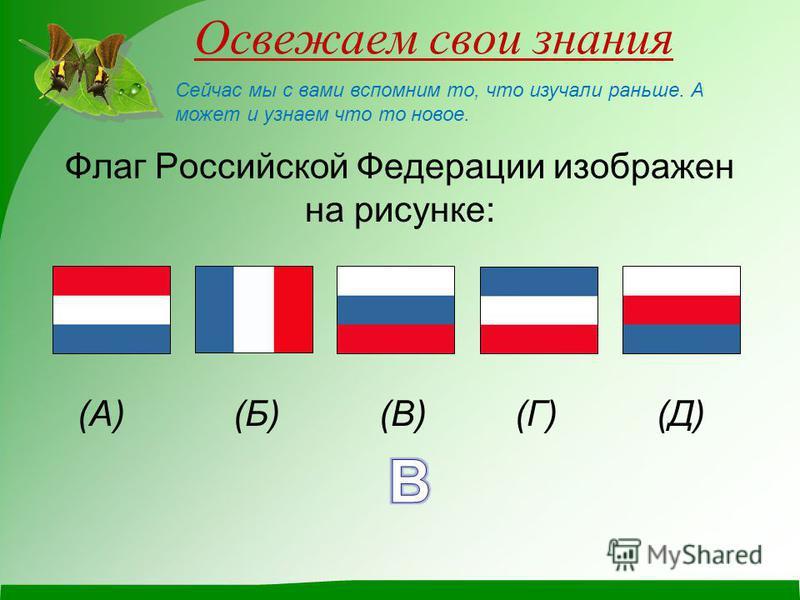 Освежаем свои знания Флаг Российской Федерации изображен на рисунке: (А) (Б) (В) (Г) (Д) Сейчас мы с вами вспомним то, что изучали раньше. А может и узнаем что то новое.