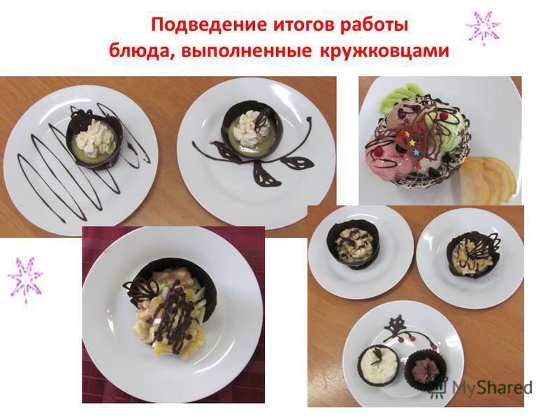 Подведение итогов работы блюда, выполненные кружковцами