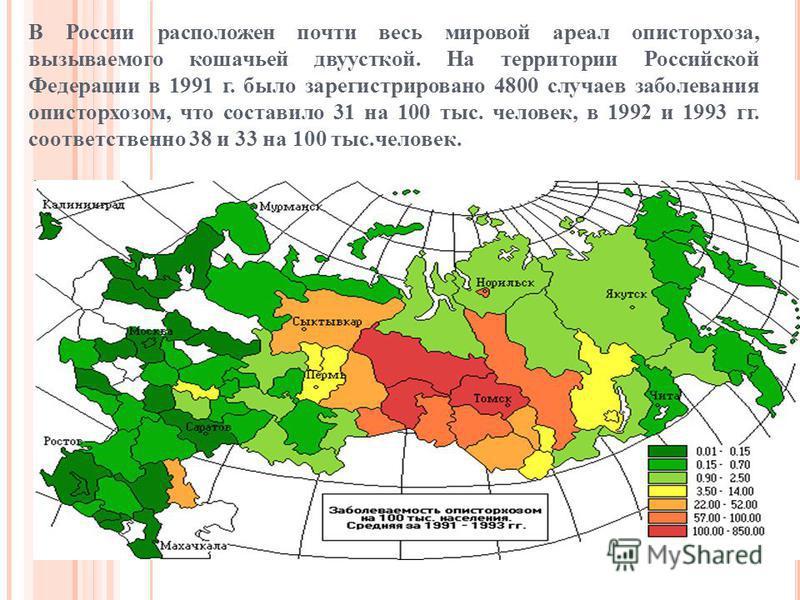 В России расположен почти весь мировой ареал описторхоза, вызываемого кошачьей двуусткой. На территории Российской Федерации в 1991 г. было зарегистрировано 4800 случаев заболевания описторхозом, что составило 31 на 100 тыс. человек, в 1992 и 1993 гг