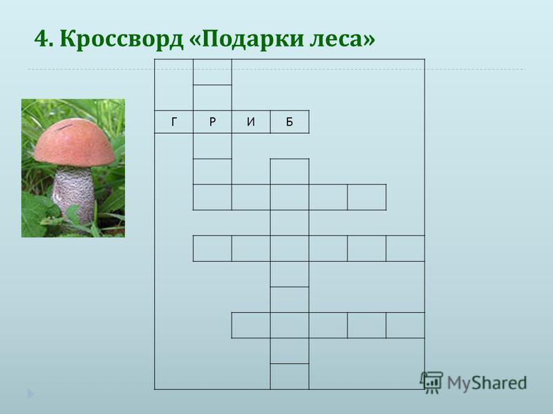 4. Кроссворд « Подарки леса » ГРИБ