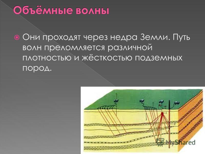 Они проходят через недра Земли. Путь волн преломляется различной плотностью и жёсткостью подземных пород.