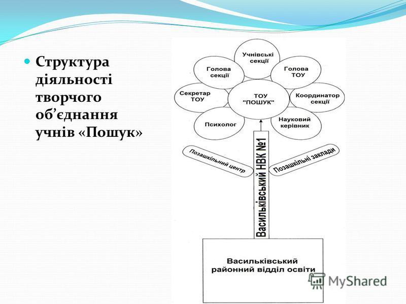 Структура діяльності творчого обєднання учнів «Пошук»